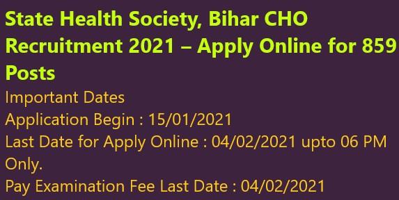 State Health Society, Bihar CHO Recruitment 2021