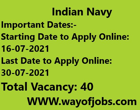 Indian Navy SSC Electrical Recruitment 2021 – Apply Online for 40 Vacancy